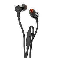 JBL T210 black In-Ear headphones onebutton remote flat cable