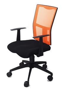 Manager Chair (Praga)Black/Orange w/Gas Lift Nylon Base Mesh Fabric Surface